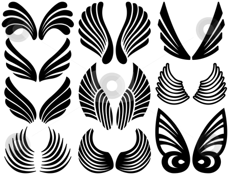 Stylized Angel Wings stock vector clipart, Ten Sets of Black Stylized Angel Wings by Adrian Sawvel