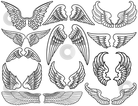 Angel Wings stock vector clipart, Twelve Sets of Black and White Angel Wings by Adrian Sawvel