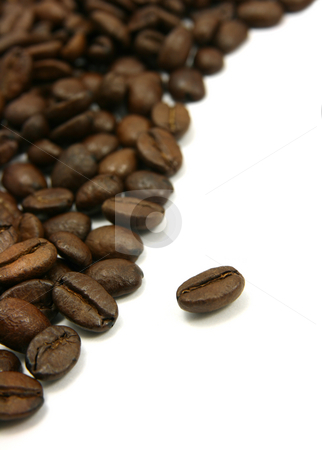 Curved coffee beans stock photo, Curved coffee beans isolated on white by Tilo