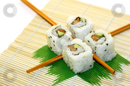 Sushi Rolls structured over white stock photo, 4 rolls of sushi, in a zen attitude by Tilo