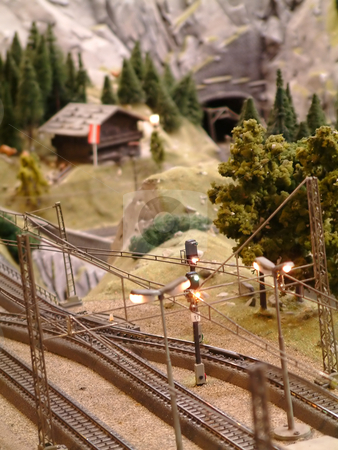Train model stock photo, Small railway model in the countryside by Tilo