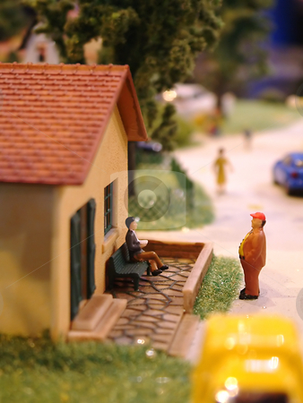 House model stock photo, Reduced little house with two characters by Tilo