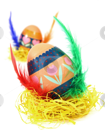Easter egg in hay stock photo, Easter egg race. Wings made of color feathers. Isolated on white. by Tilo