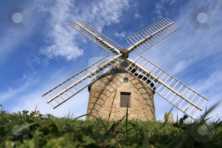Windmill stock photo, Old windmill in Brittany, France (Lancieux) by Tilo