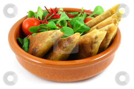 Samosas in a bowl stock photo, Samosas and salad bowl, isolated on white by Tilo
