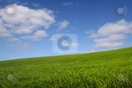 The green hill (horizontal) stock photo, A green hill under a blue sky by Tilo