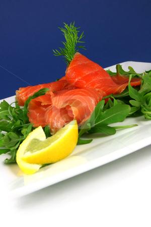 Smoked salmon stock photo, Smoked salmon on a plate by Tilo