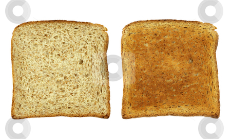 Toast bread stock photo, Toast bread before and after, isolated on white, clipping path included by Tilo