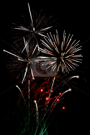 White finale fireworks stock photo, Finale fireworks, with white flares over black by Tilo