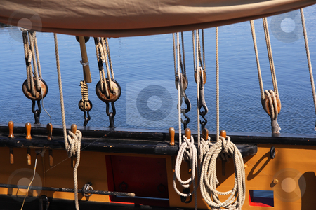 Ship rigging stock photo, Detail of a wooden sailing ship by Tilo