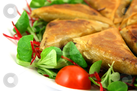 Samosas white on left stock photo, Samosas and salad, white space on the left by Tilo