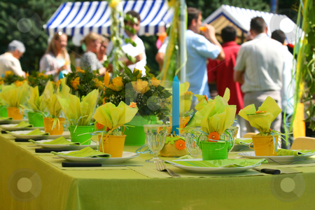 Garden party stock photo, Garden party table by Tilo