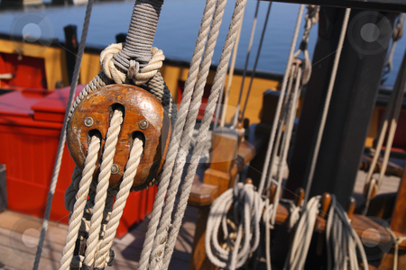 Ship rigging 2 stock photo, Detail of a wooden sailing ship by Tilo