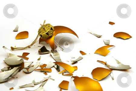 Broken golden ball stock photo, Pieces of broken golden ball on white, christmas background by Tilo