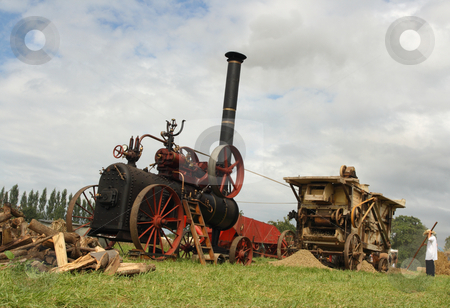 Vintage harvest scene stock photo, Vintage traction steam engine and threshing machine working in a field at the wheat fest by Tilo