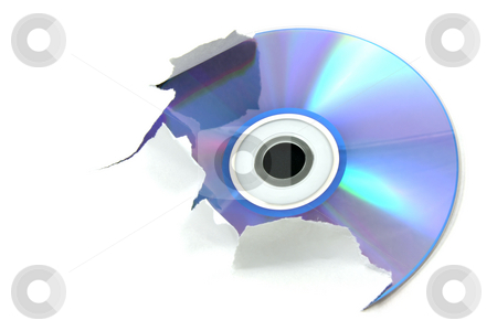 Blue cd stock photo, Blue cd tearing a white paper by Tilo