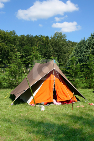 Camping stock photo, Tent in the countryside, in summer by Laurent Renault
