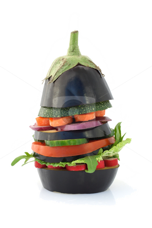Eggplant burger stock photo, Fresh and ripe vegetarian eggplant burger over white by Tilo