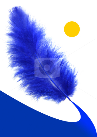 Blue feather's way stock photo, Blue feather landscape illustration. by Tilo