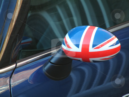 British car wing mirror with flag stock photo, A patriotic rear view mirror by Tilo