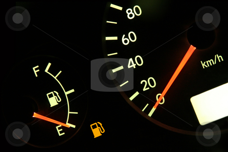 Out of gas stock photo, Fuel gauge in red, empty tank by Tilo