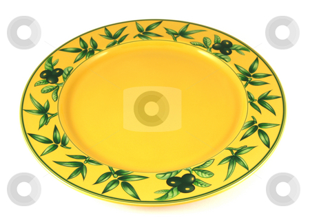 Yellow empty plate stock photo, Yellow decorated empty plate isolated on white by Tilo