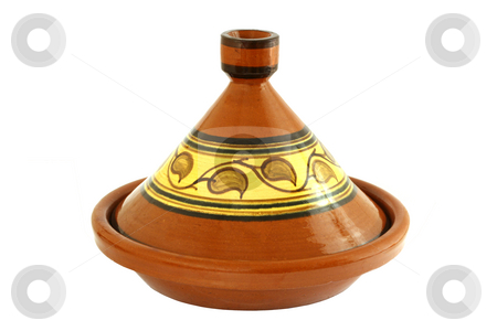 Tagine stock photo, Moroccan Tagine isolated on white, oriental pot for cooking by Tilo
