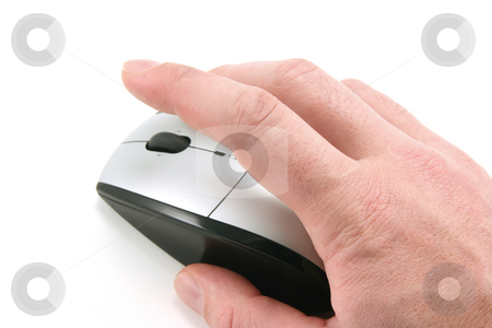 Click the mouse stock photo, Hand of a man clicking a mouse button, top view, isolated on white, focus on the finger by Tilo