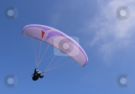 Purple paraglider stock photo, Purple paraglider flying by Tilo
