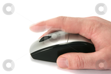 Click the mouse stock photo, Hand of a man clicking a mouse button, side view, isolated on white, finger in movement by Tilo