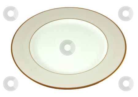 Ivory empty plate stock photo, Ivory empty plate isolated on white by Tilo