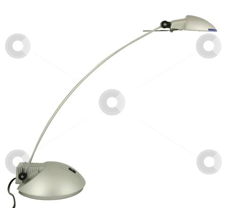 Halogen desk lamp stock photo, Halogen desk lamp isolated on white by Tilo
