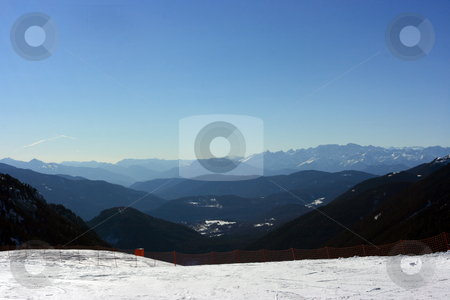 Look over mountains stock photo, Horizon as a range of mountain chains. by Natalia Macheda