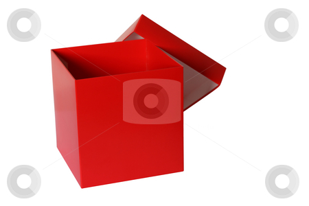 Red box stock photo, Open empty red box photo, isolated on white, not 3d rendering by Tilo