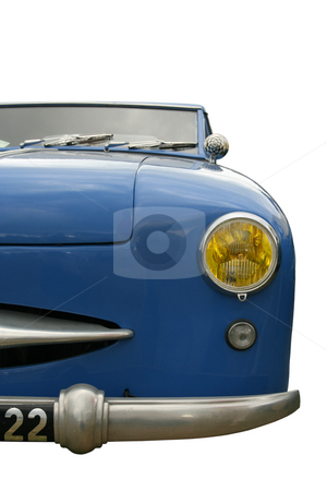 Vintage blue car stock photo, Vintage blue car, face view, isolated on white with clipping path by Tilo