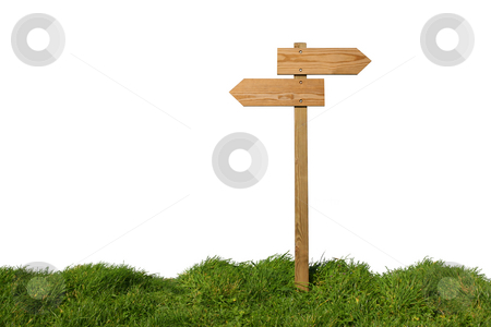 Which direction ? stock photo, Wooden direction sign isolated on white, clipping path included by Tilo