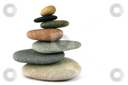 Seven pebbles pyramid stock photo, Seven pebbles pyramid in staggered rows, over white by Tilo