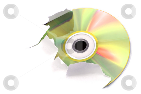 Gold cd stock photo, Gold cd tearing a white paper by Tilo