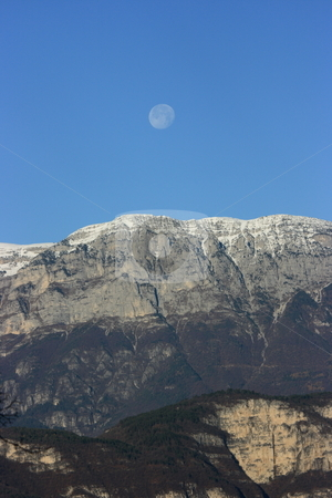 Mountain&moon stock photo, Alpine chain under the full moom in the morning by Natalia Macheda