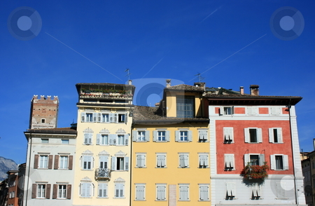 Multicolored houses in Trento stock photo, Multicolored old houses on the main square of Trento. Nothern Italy. Southern Tyrol by Natalia Macheda