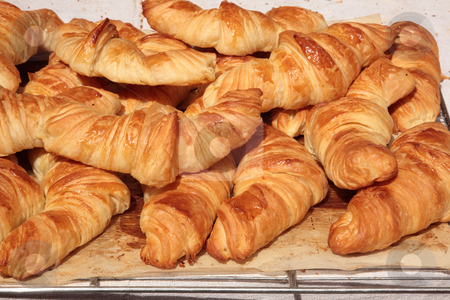 Croissants stock photo, Croissants in the shop by Tilo