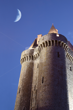 Dungeon in the twilight stock photo, The Solidor tower in the twilight, located in Saint-servan, France, Brittany by Tilo