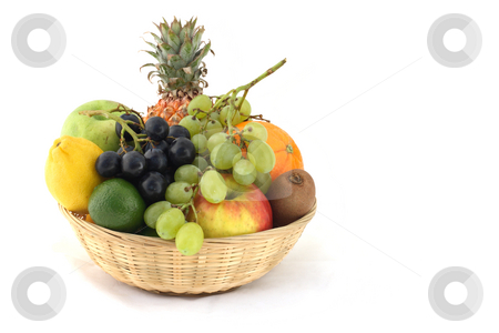 Basket of fruits stock photo, Fresh and ripe fruits in the basket by Tilo
