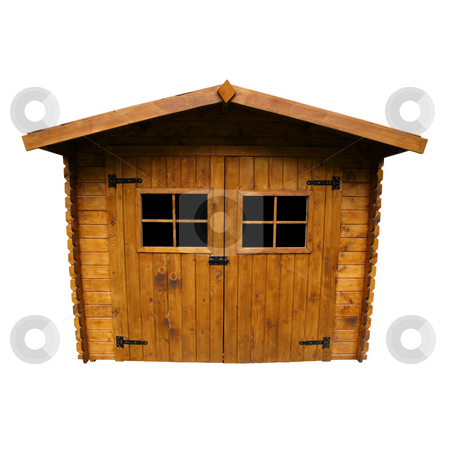 Wooden Garden Shed (Isolated) stock photo, Wide angle view of a Shed, isolated on white by Tilo