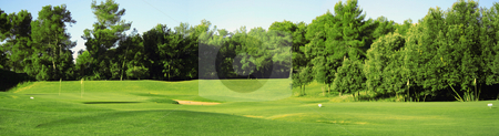 Golf field panorama stock photo, Panorama of golf field made of three photos by Natalia Macheda