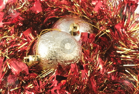Red-golden Christmass-tree decoration stock photo, Red shining tinsel and golden balls for Christmas-tree decoration by Natalia Macheda