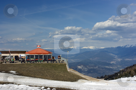 Relax on mountain summit stock photo, Bar and place for children of a ski reaort abandoned by toursits in spring by Natalia Macheda