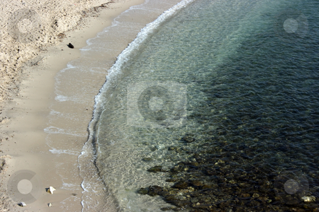 Velvet season stock photo, Free of tourists beach and transparent emerald water of the Mediterranean sea (French riviera, coast azure part) during velvet season. by Natalia Macheda