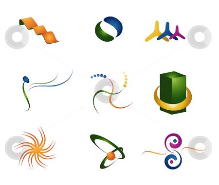 Logo and Design Elements stock vector clipart, Illustration of Logos and design elements in 3D by Stephanie Soon