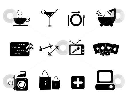 Amenities Icon stock vector clipart, Icon Illustration of amenities in hotel and bars and clubs by Stephanie Soon